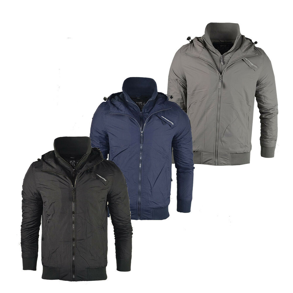 ef100e152ad5a Herrenmode Crosshatch Snapton Mens Jacket Double Layer Hooded Windbreaker  Coat