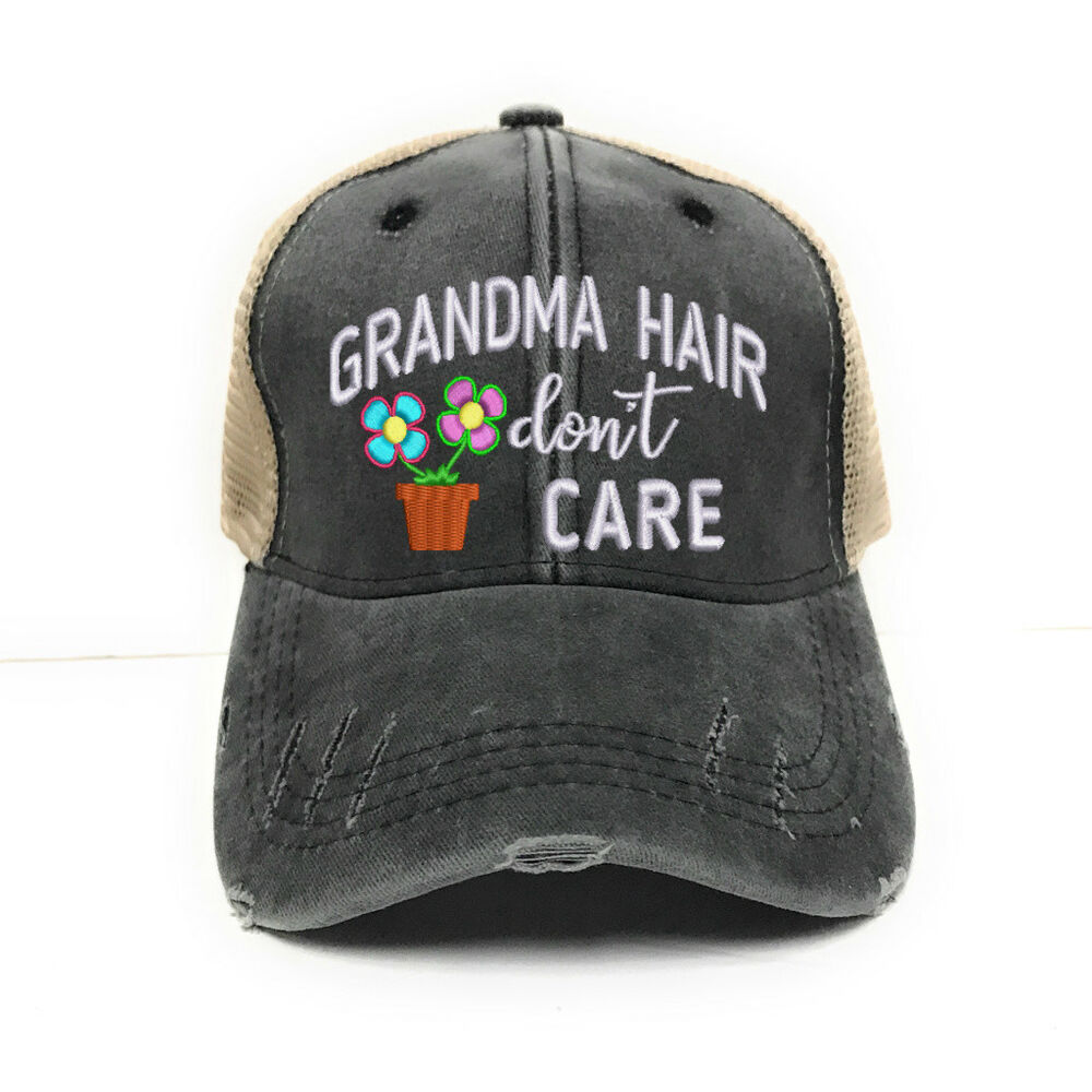 Details about Womens Custom Trucker Hat Grandma Hair Don t Care Distressed  Funny Baseball Cap f0113018afe