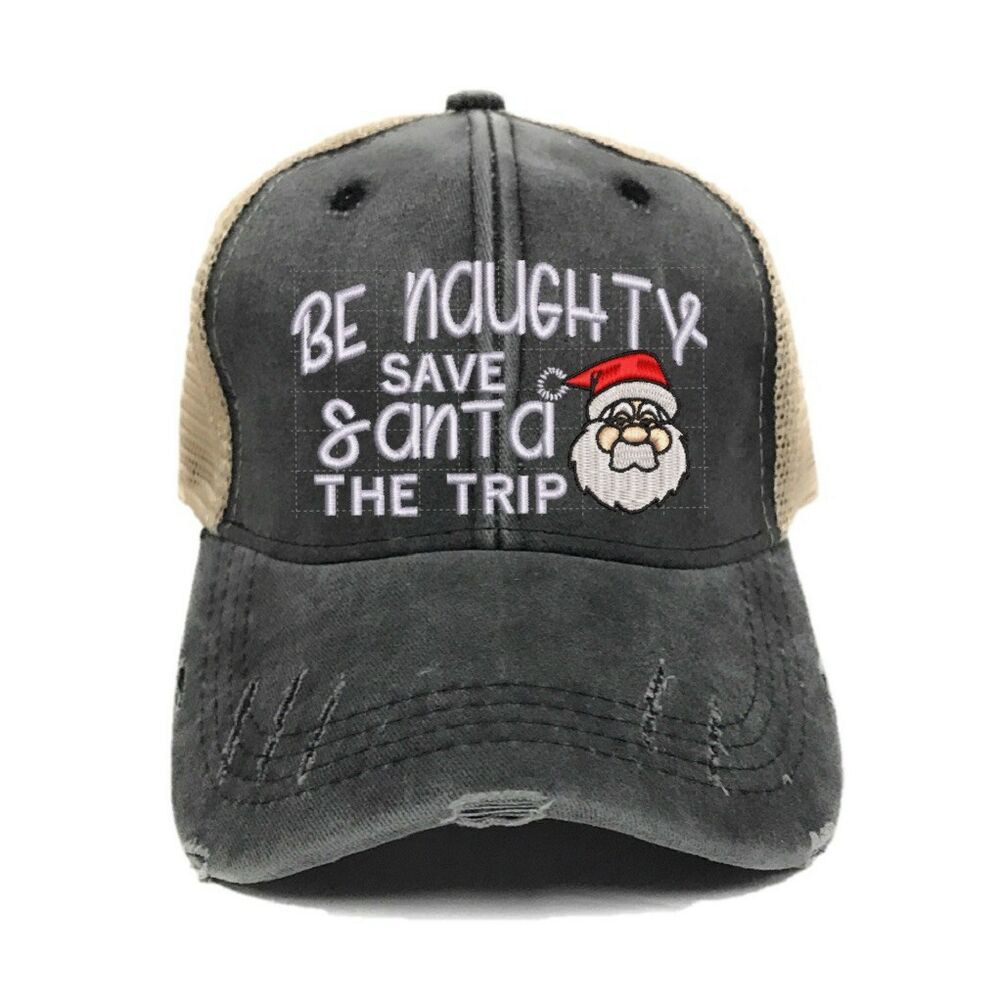 Details about Mens Or Womens Trucker Naughty Santa Distressed Funny  Baseball Cap Christmas 3039544a1b0