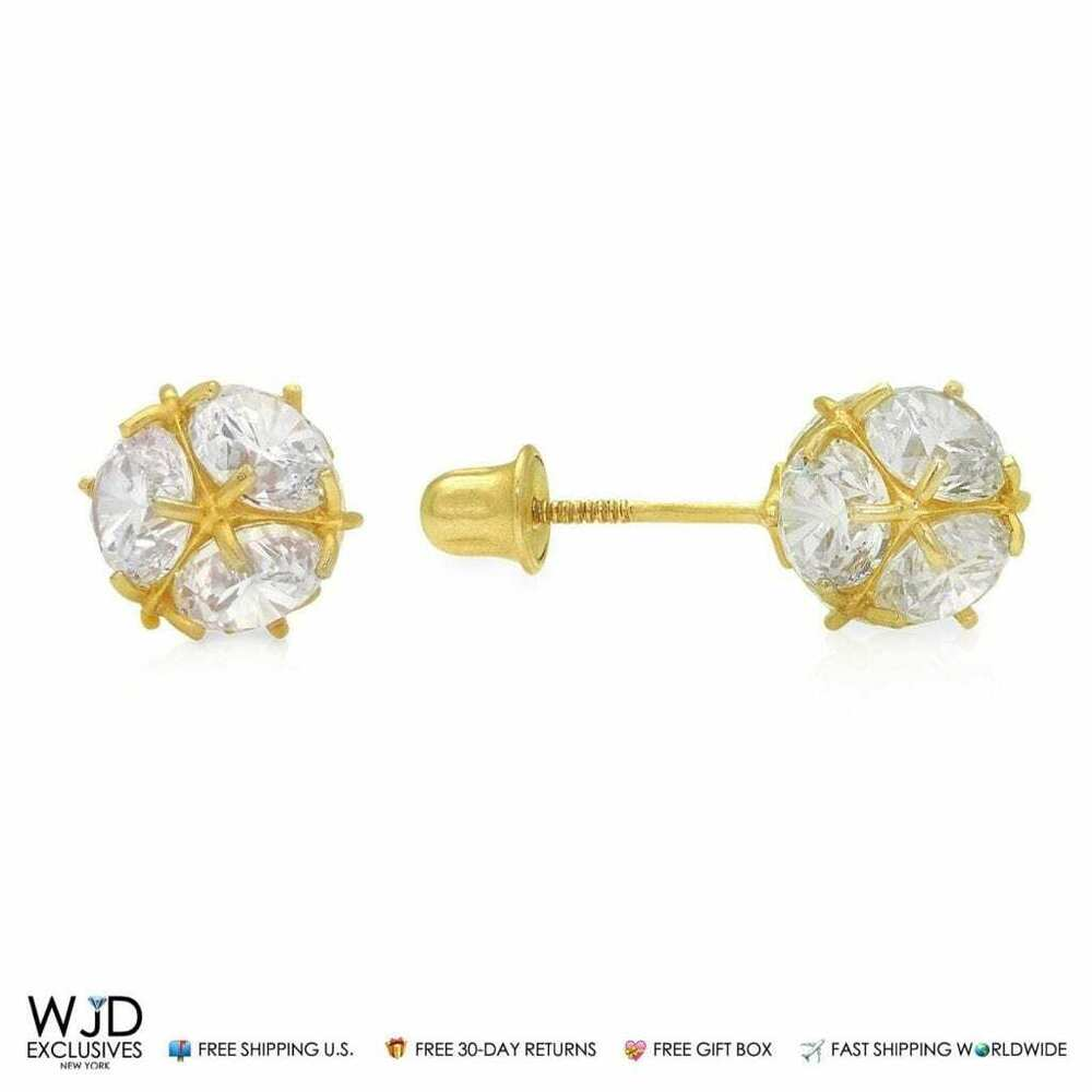 3cb0841a1 Details about 14K Yellow Gold 3Ct Round Created Diamond 7mm Ball Screw Back  Stud Earrings