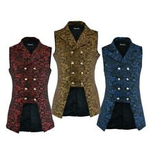 Men's Double Breasted GOVERNOR Vest Waistcoat VTG Brocade Gothic Steampunk