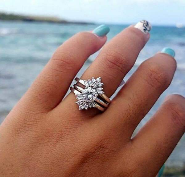 Fashion 925 Silver Filled Wedding Rings for Women White Sapphire Size 6-10