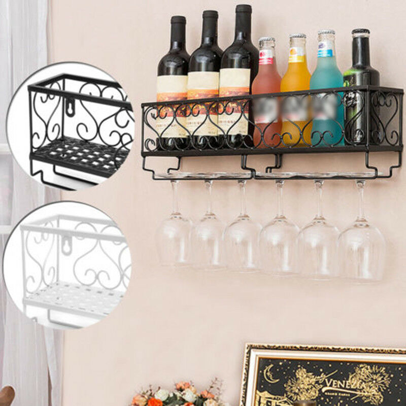 Wine Rack Wall Mount Iron Glass Floating Bar Shelf Bottle Holder
