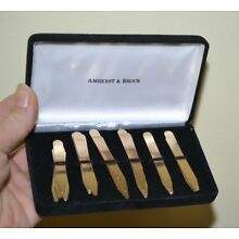 18 AMHERST & BROCK GOLD Colored Collar Stays Stiffeners Tips Dress Shirt