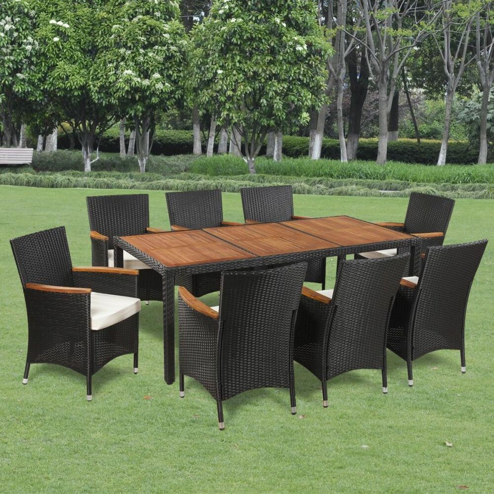 Details about vidaxl garden dining set 17 piece acacia poly rattan wicker outdoor furniture