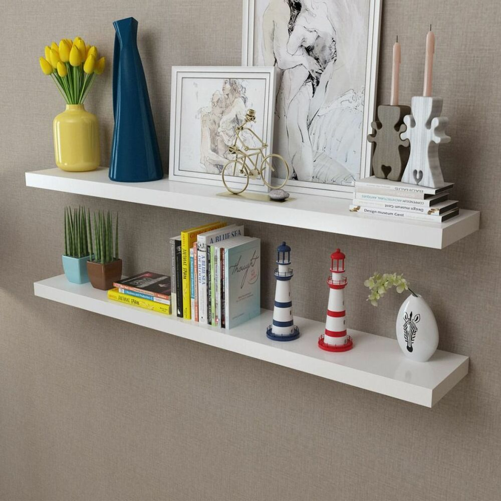 Details About Vidaxl 2 White Floating Wall Shelf Display Storage Hanging 5 Size Option