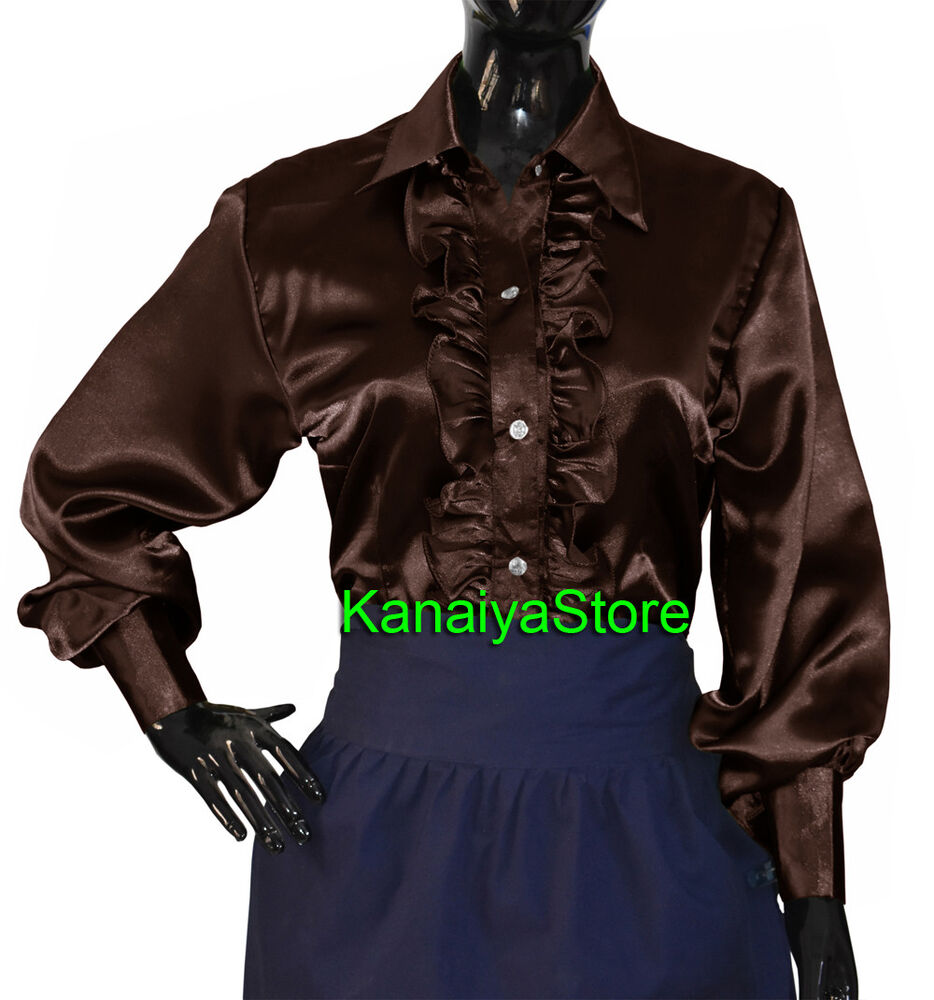 9301d1fb7 Details about Coffee Satin Button Down Solid Collar FRONT RUFFLE Shirt Long  Sleeve Blouse