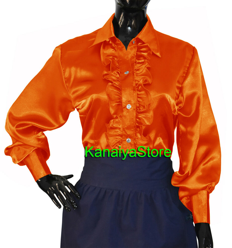 294929d15 Details about Orange Satin Button Down Solid Collar FRONT RUFFLE Shirt Long  Sleeve Blouse