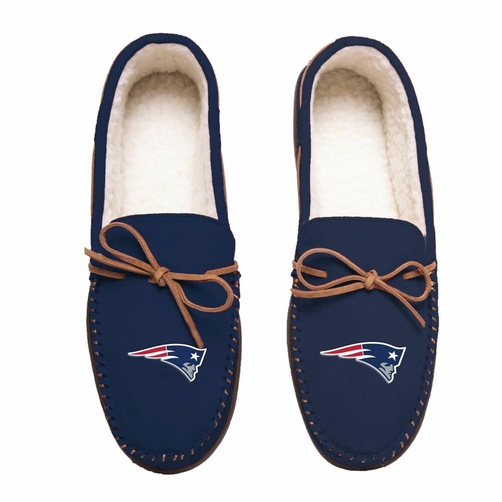 ff42a52566b Details about NFL New England Patriots Men s Colored Moccasin Hard Slippers- New