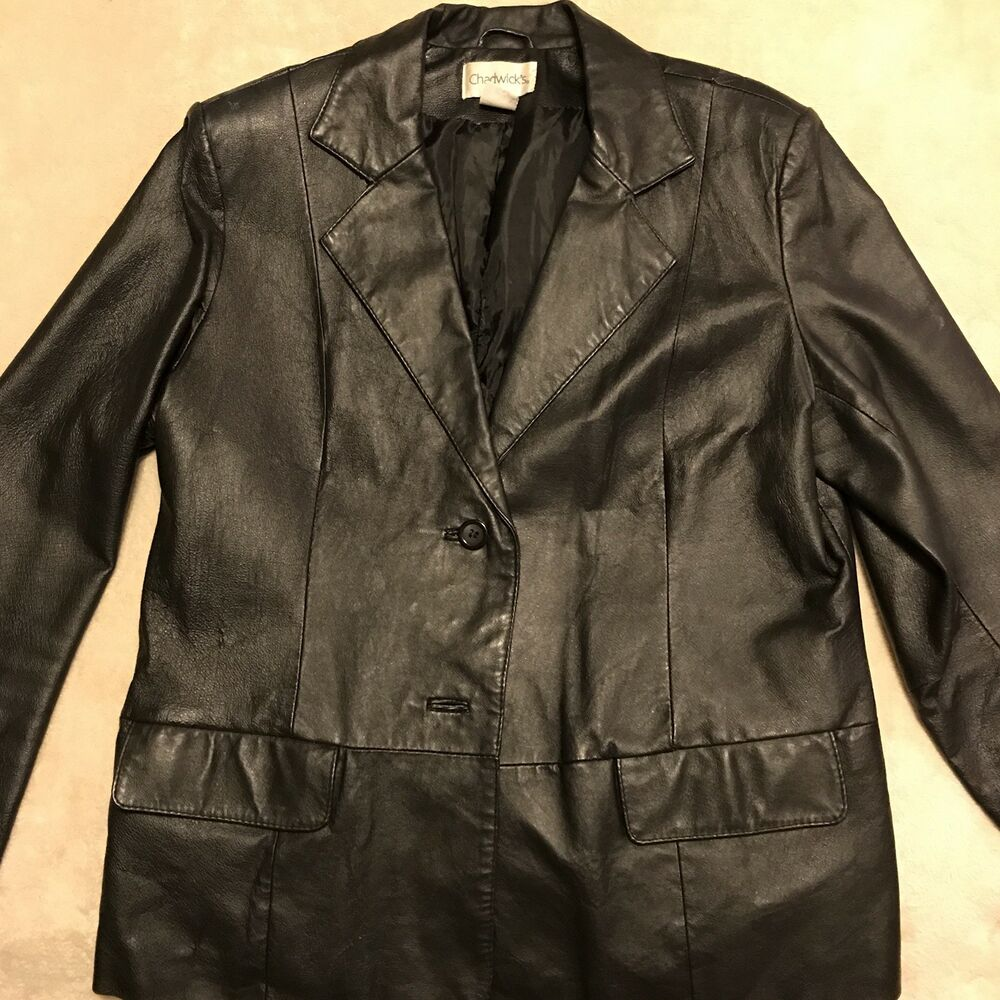 6dea403b4e92 Details about Women's Chadwicks Black Leather Jacket Size 10 Petite Button  Front Fully Lined