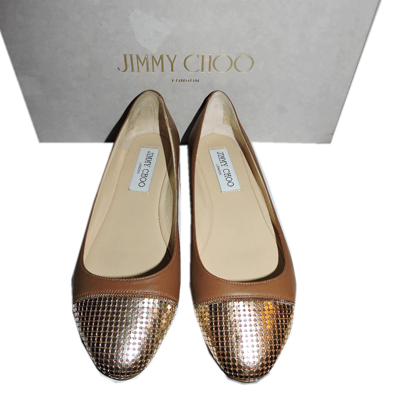 1208bc0452 Details about Jimmy Choo Waine Gold Chain Cap Toe Ballet Tan Leather Flat  Shoe 35