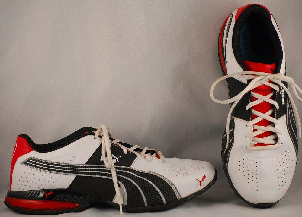 138bed2ee5f Details about Men s Puma Sport Lifestyle White Black Red Running Shoes US  10 UK 9 EUR 43
