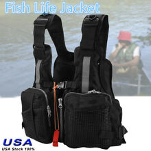 Adults Lifesaving Vest Life Jacket W. Whistle Fishing Drift Swimming Suit Black