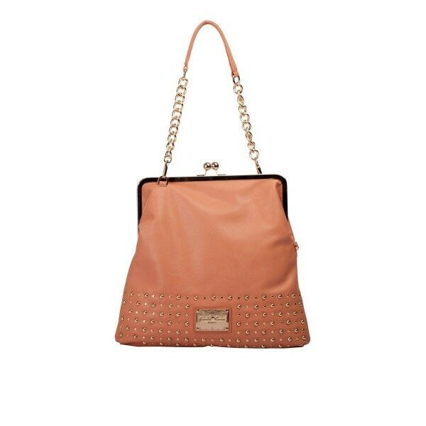 6717fd2be3fe Details about BOLSON OVERSIZED STUDDED CLASP TOP PURSE CLAUDIA CANOVA
