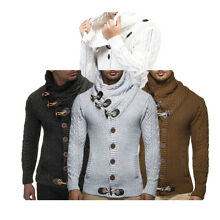 US Stock Men Long Sleeve Knitted Sweater Horn Button Sweater Cardigan Turtleneck