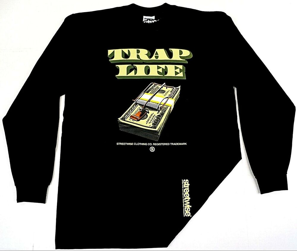 4ebbda2d3c2 Details about STREETWISE TRAP LIFE Long Sleeve T-shirt Urban Streetwear  Adult Men Tee New