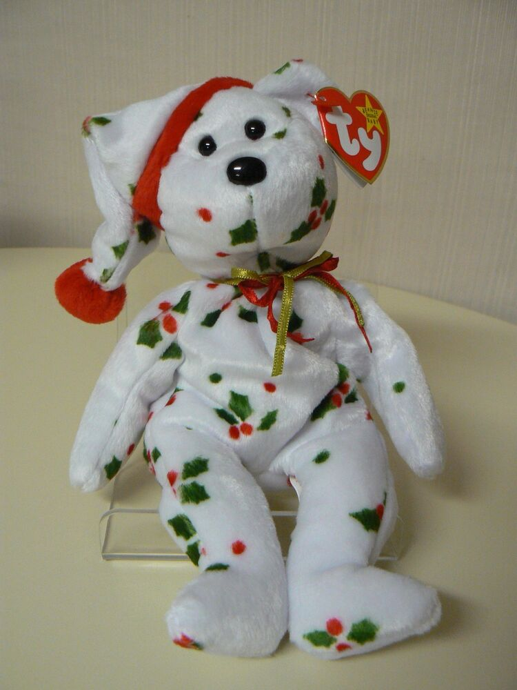 6065ba52a30 Details about Ty Beanie Baby 1998 HOLIDAY TEDDY Bear Plush White with  Mistletoe and Santa Cap