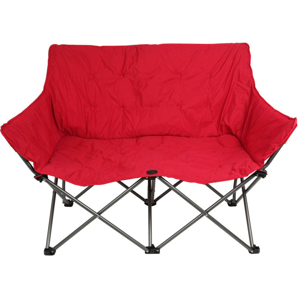 Details About Ozark Trail Padded Loveseat Chair Red Folding 2 Person Camping Furniture