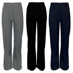 GIRLS NEW BACK TO SCHOOL PULL UP HALF ELASTICATED WAIST TROUSERS SIZE 2-13 YEARS