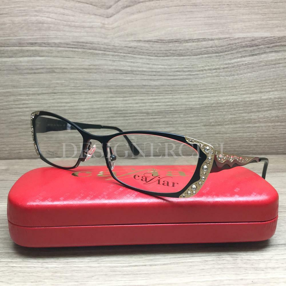 77c507c9f6 Details about Caviar M1772 1772 Eyeglasses Matte Black Swarovski Crystals  C4 Authentic 53mm