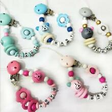 Baby Pacifier Clip Wooden Beading Bear letter Flower Soother Pacifier chain