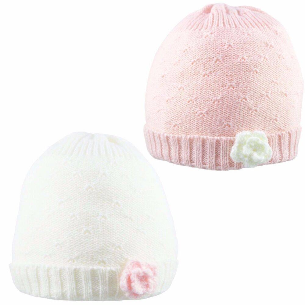 f5b40d35bc1 Details about Baby Girl Beanie Hat Cap With Flower Winter Knitted Warm  Cotton Lining 0-6 Month