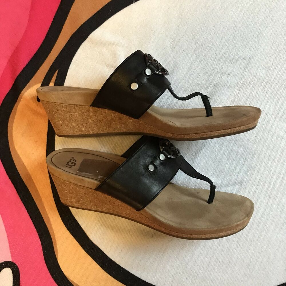 70f285b7b01 Details about UGG AUSTRALIA Womens  Briella  Black Leather Slide Cork Wedge Thong  Sandals 10