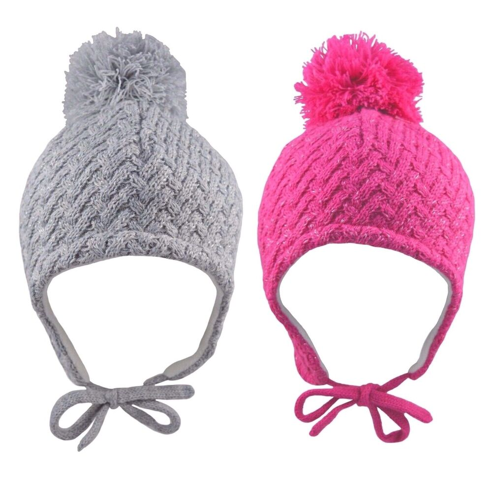 Details about Baby Girls Pom Pom Hat With Chin Tie Warm Winter Fleece Lined  Sparkly 6-18 Month 60f996eefe5