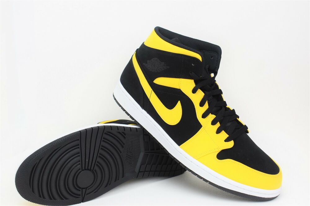 a16996685d666e Details about New Nike Air Jordan Retro 1 Mid Size 14 Reverse New Love  Black Yellow 554724-071