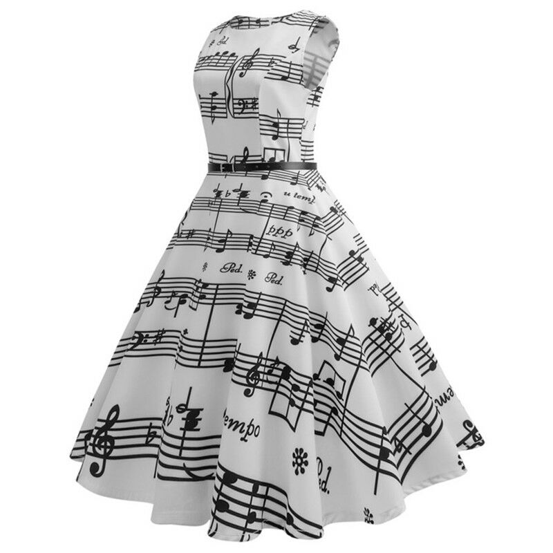 5c3273f0bb8 Details about Women s Sleeveless Music Note O-Neck Retro Dress With Belt  Black White