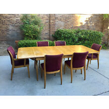 Vintage Heywood Wakefield Wishbone Legs Drop Leaf Table w/ 2 leaves & 6 chairs