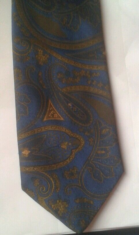 1fe1f786acfc Kingsley Tie Rack polyester blue tie with large paisley print | eBay