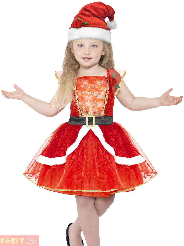 53dccb5c2aa Girls Light Up Miss Santa Costume Childs Christmas Fancy Dress Kids Xmas  Outfit