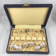 Box Set of Figural 6 Japanese 950 Sterling Silver Spoons-3 7/8