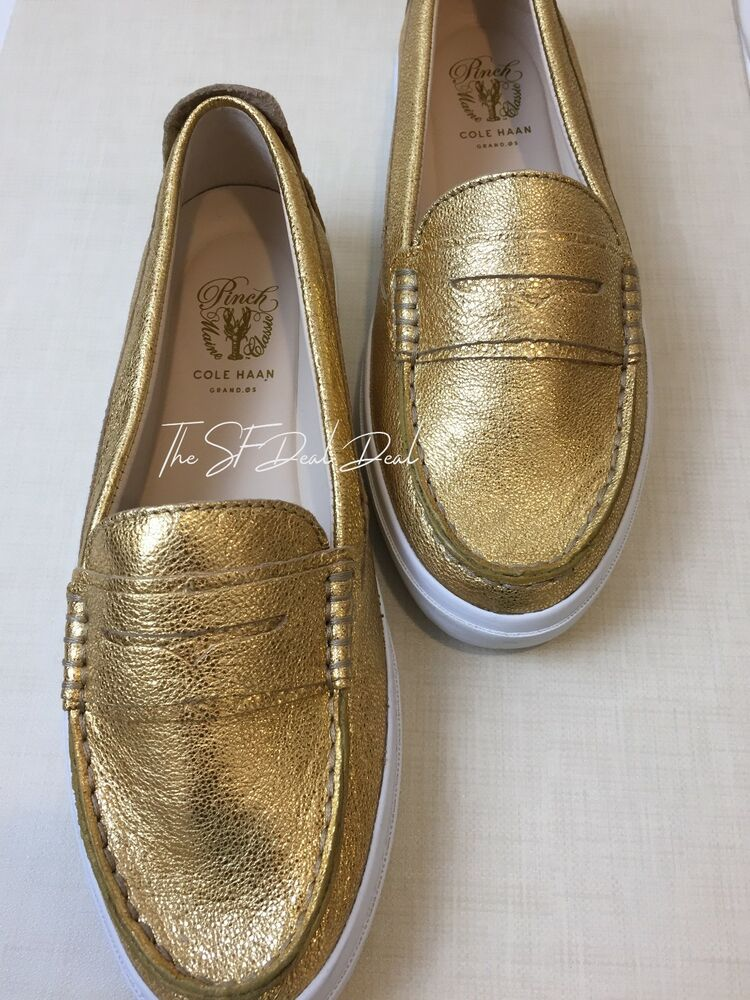 a01f7c8d4f1 Details about Cole Haan Women s Pinch Weekender LX Penny Loafer Gold Wash  Leather 7 B US NIB