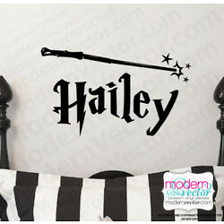 Personalized Name Harry Potter style with Wand Vinyl Wall Decal