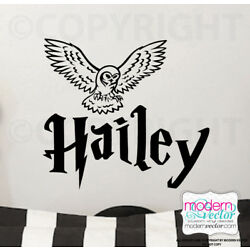 Personalized Name Harry Potter with Hedwig Owl Vinyl Wall Decal