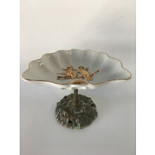 Antique Porcelain and Brass Mountable Soap Dish With Angels Cherubs Gold 4.75