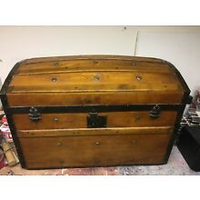 Antique Vintage Sailors Trunk Chest Restored on very Small Wheels