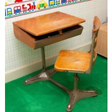 Antique, Vintage School Desk w/ Connected Chair, Interior Design, Child Bedroom