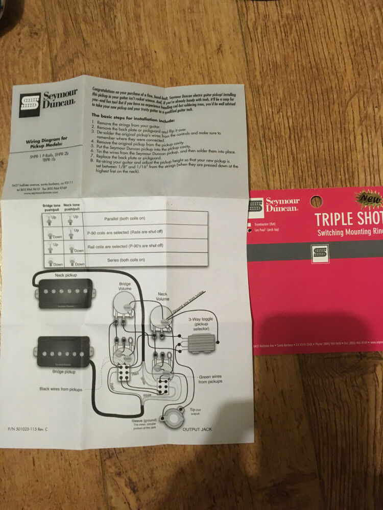 seymour duncan p rails and triple shot instructions and wiring rh ebay co uk