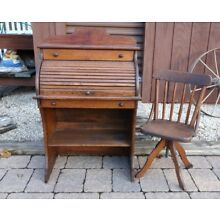 Antique Child's Roll Top Desk and Chair Local Pickup
