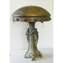 ANTIQUE ART NOUVEAU  FIGURAL LAMP WITH CHUNK GLASS JEWELED SHADE