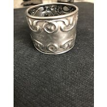 Antique Napkin Ring, Sterling Silver, Engraved Relief Pattern,