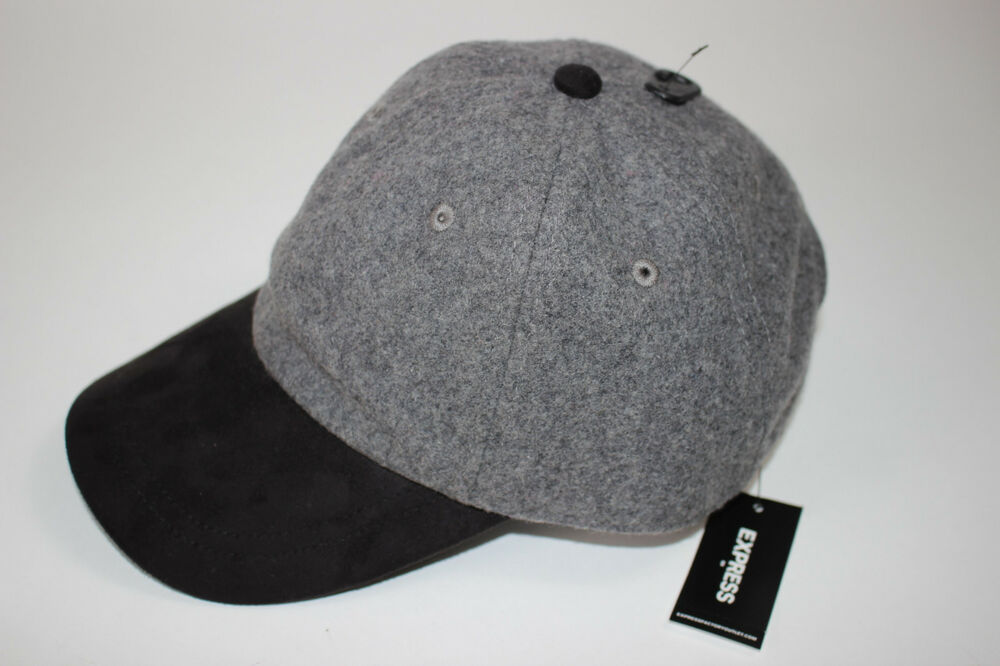 0f2ed188f4c33 Details about NWT EXPRESS One Size Men s Grey and Black Wool Blend  Adjustable Baseball Hat