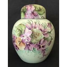 Vintage Hand Painted Floral Violets ~ Mint Green Porcelain Ginger Jar ~ Sweet!