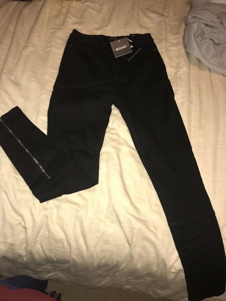 af51b3f1d00c5 NWT Womens Missguided Denim High Waisted Black Slim Skinny Jeans Pants Size  8