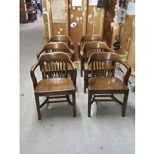 6 Vintage BOLING Banker Library Desk MCM WALNUT finish wood Arm Chairs
