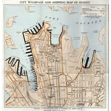 1923 Australian Trade Commerce Map Guide Sydney Harbour Port Jackson