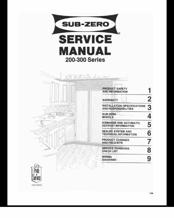 Repair Manual: Sub-zero REFRIGERATORS (choice of 1 manual, see below on